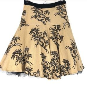 Anthropologie Odille Galloping Filly Horse Skirt